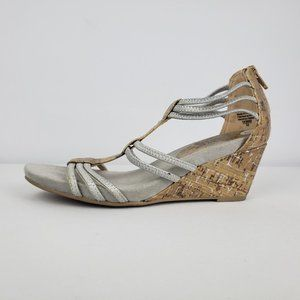 Dexflex Silver & Cork Wedge Sandals Size 6